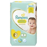 Pampers Couches Pampers Premium Protect T2 : 4/8kg - x54 changes